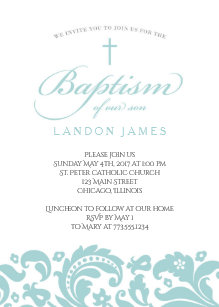Teal Damask Baptism Invitation