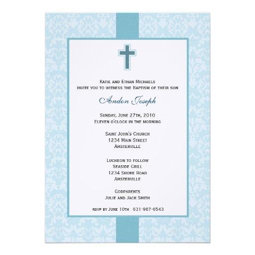 Teal Damask Baptismal Invitation.