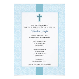 Teal Damask Baptismal Invitation. Card