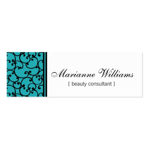 Teal Damask Beauty Micro Mini Business Cards