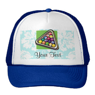 Teal Damask Billiards Trucker Hat