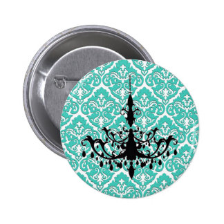 Teal Damask Black Chandelier Pinback Button