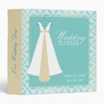 Teal Damask & Bridal Gown Wedding Planner 3 Ring Binders