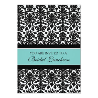 Teal Damask Bridal Luncheon Invitation Cards