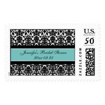 Teal Damask Bridal Shower Wedding Stamps