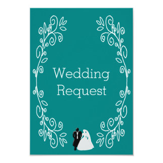 Teal Damask Bridesmaid Request Card