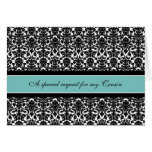 Teal Damask Cousin Matron of Honor Invitation Card