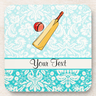 Teal Damask Cricket Beverage Coaster