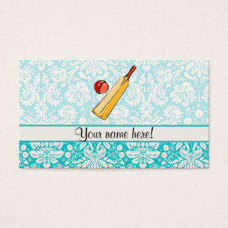Teal Damask Cricket Business Card