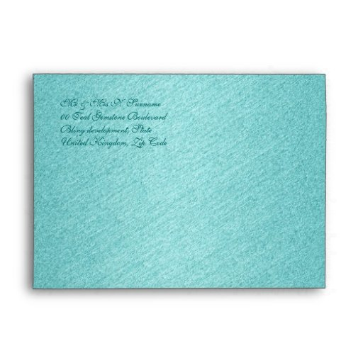 Teal damask elegant wedding birthday envelopes