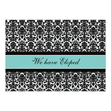 """Teal Damask Elopement Announcement Cards 5"""" X 7"""" Invitation Card"""