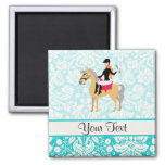 Teal Damask Equestrian 2 Inch Square Magnet
