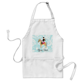 Teal Damask Equestrian Adult Apron