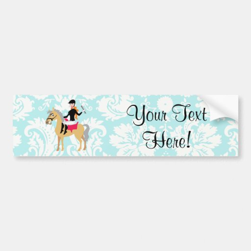 Teal Damask Equestrian Bumper Sticker