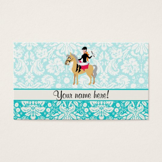 Teal Damask Equestrian Business Card