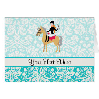Teal Damask Equestrian Greeting Card