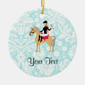 Teal Damask Equestrian Ceramic Ornament