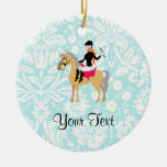 Teal Damask Equestrian Christmas Tree Ornaments