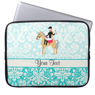 Teal Damask Equestrian Computer Sleeve
