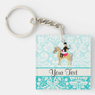 Teal Damask Equestrian Double-Sided Square Acrylic Keychain