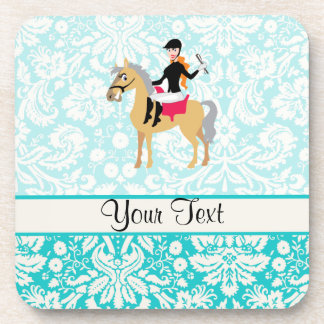 Teal Damask Equestrian Drink Coaster