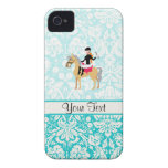 Teal Damask Equestrian iPhone 4 Cover