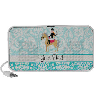 Teal Damask Equestrian iPhone Speakers