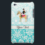 "Teal Damask Equestrian iPod Touch Cover<br><div class=""desc"">You will love this cute teal damask pattern equestrian horse riding horses design. Great for gifts! Available on tee shirts, smart phone cases, mousepads, keychains, posters, cards, electronic covers, computer laptop / notebook sleeves, caps, mugs, and more! Visit our site for a custom gift case for Samsung Galaxy S3, iphone...</div>"