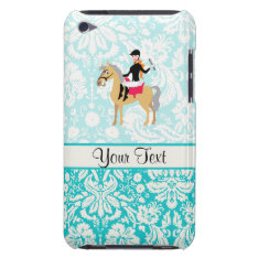 Teal Damask Equestrian Ipod Touch Cover at Zazzle