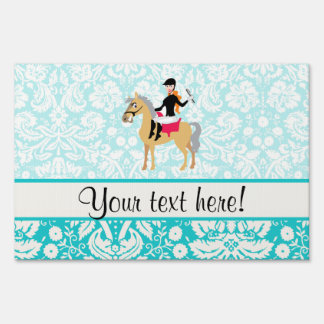 Teal Damask Equestrian Lawn Sign