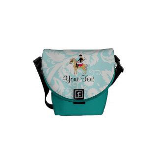 Teal Damask Equestrian Messenger Bag