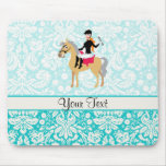 Teal Damask Equestrian Mouse Pad