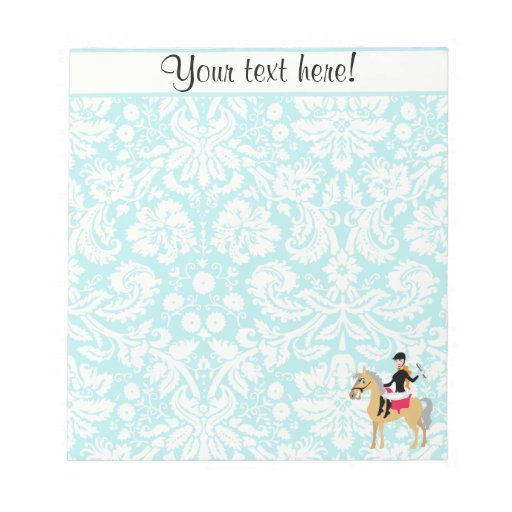 Teal Damask Equestrian Note Pad