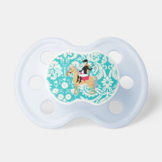 Teal Damask Equestrian Baby Pacifier
