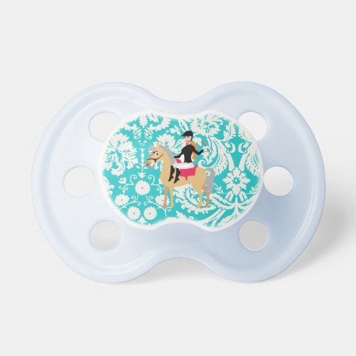 Teal Damask Equestrian Pacifier