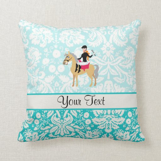 Teal Damask Equestrian Pillows
