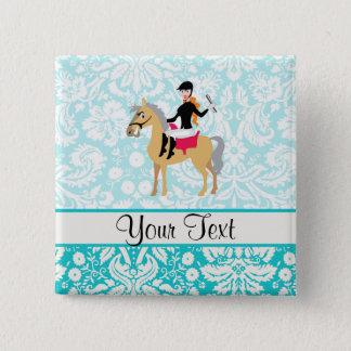 Teal Damask Equestrian Pinback Button