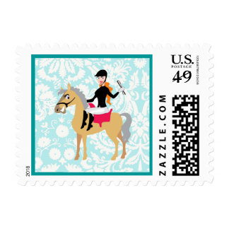 Teal Damask Equestrian Postage Stamps