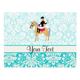 Teal Damask Equestrian Post Cards