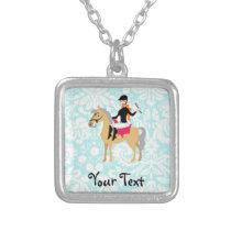 Teal Damask Equestrian Silver Plated Necklace