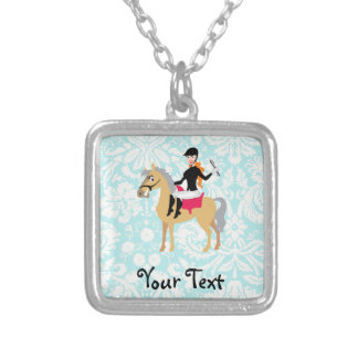 Teal Damask Equestrian Square Pendant Necklace