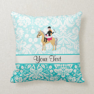 Teal Damask Equestrian Throw Pillow