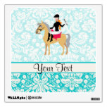 Teal Damask Equestrian Wall Decal
