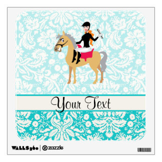 Teal Damask Equestrian Wall Decals