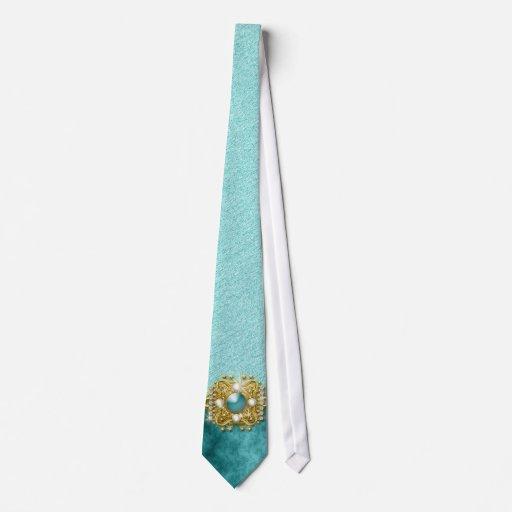 Teal damask exclusive designer wedding tie