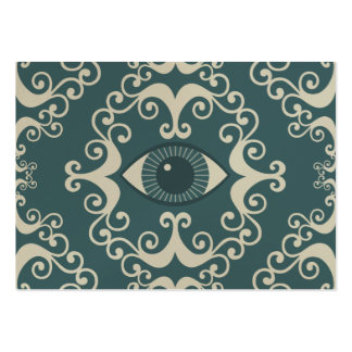 Teal Damask Eyeball Psychic Reader Chubby Cards Business Card Template