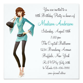 Teal Damask Girls 18th Birthday Party Card