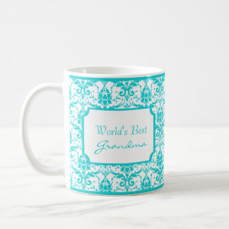 Teal Damask Grandma Mug