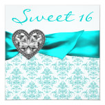 Teal Damask Heart Teal Blue Sweet 16 Party Invites