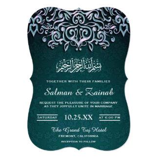 Teal Damask Islamic Muslim Wedding Invitation